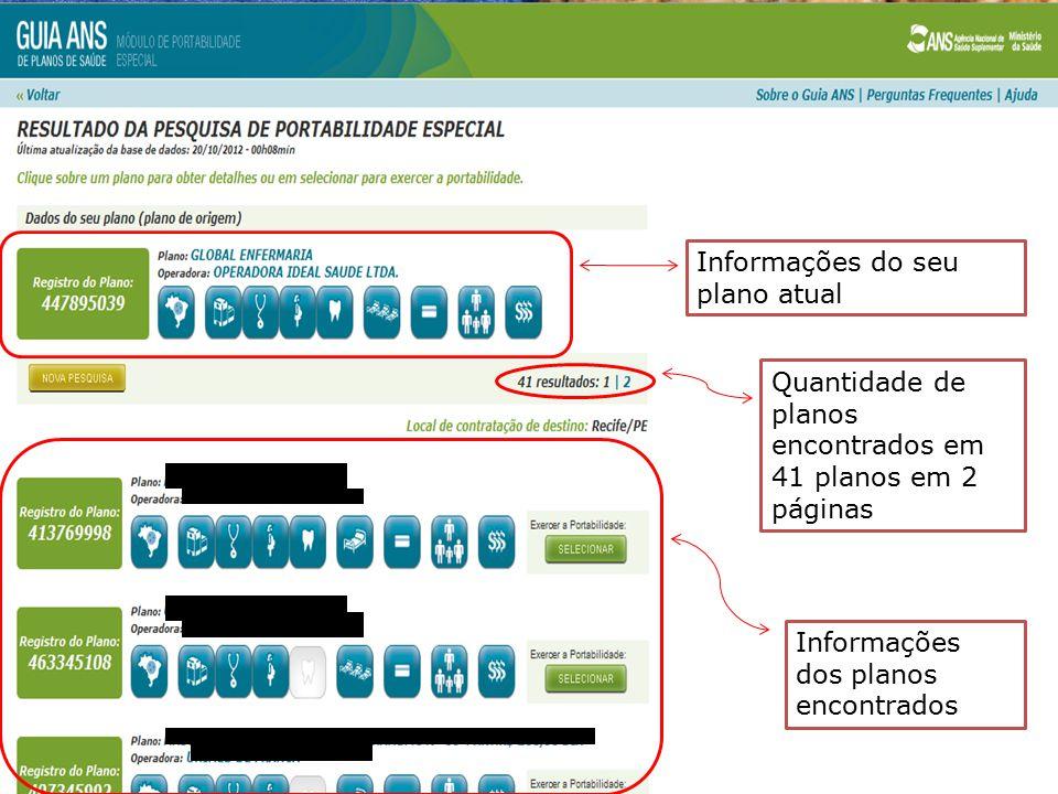 Informações do seu plano atual Quantidade de planos encontrados em 41 planos em 2 páginas Informações dos planos encontrados