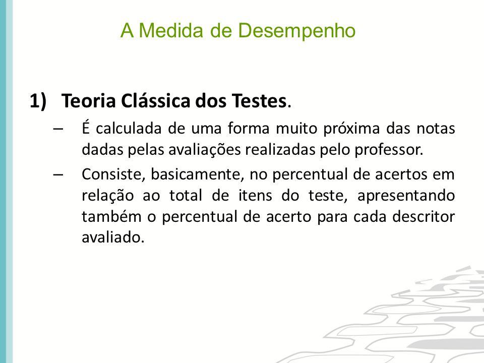 A Medida de Desempenho 1)Teoria Clássica dos Testes. – É calculada de uma forma muito próxima das notas dadas pelas avaliações realizadas pelo profess