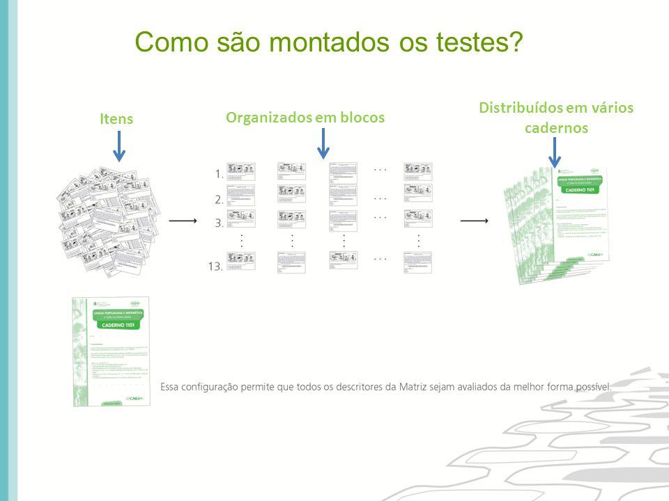Como são montados os testes? Itens Organizados em blocos Distribuídos em vários cadernos