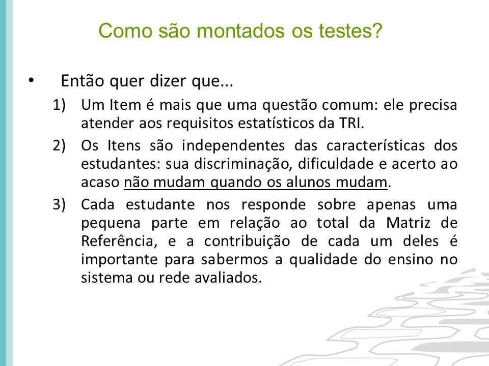 Então quer dizer que... 1)Um Item é mais que uma questão comum: ele precisa atender aos requisitos estatísticos da TRI. 2)Os Itens são independentes d