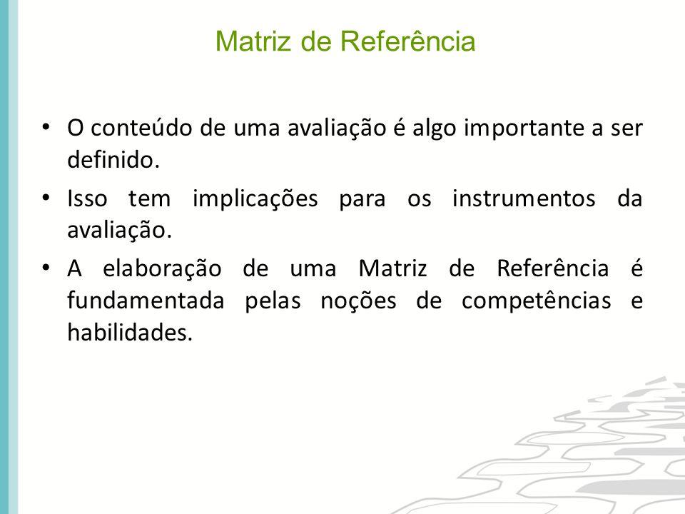 A Matriz de Referência tem como fonte as diretrizes curriculares da rede avaliada (estado ou município).