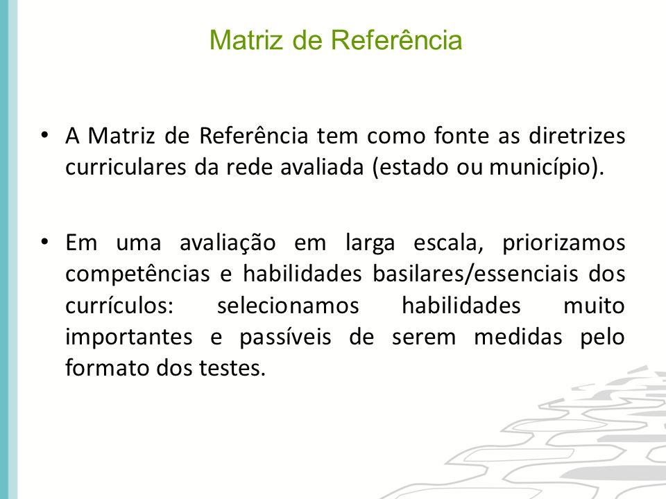 A Matriz de Referência tem como fonte as diretrizes curriculares da rede avaliada (estado ou município). Em uma avaliação em larga escala, priorizamos