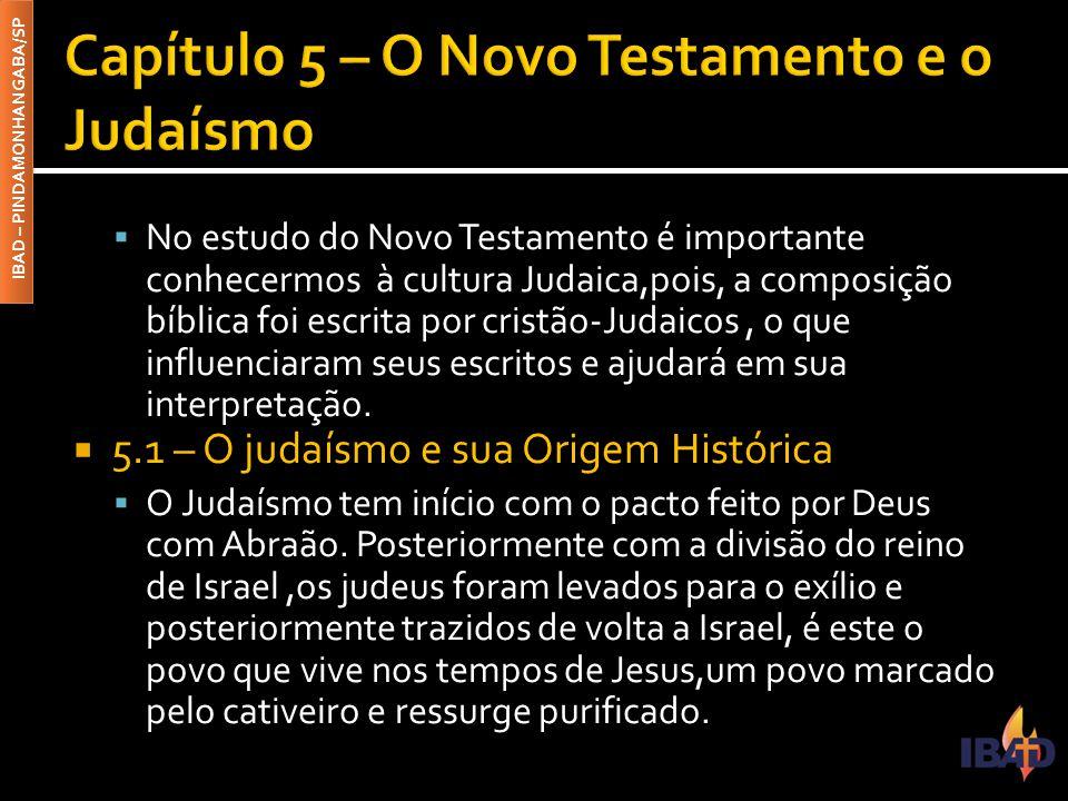 IBAD – PINDAMONHANGABA/SP  No estudo do Novo Testamento é importante conhecermos à cultura Judaica,pois, a composição bíblica foi escrita por cristão
