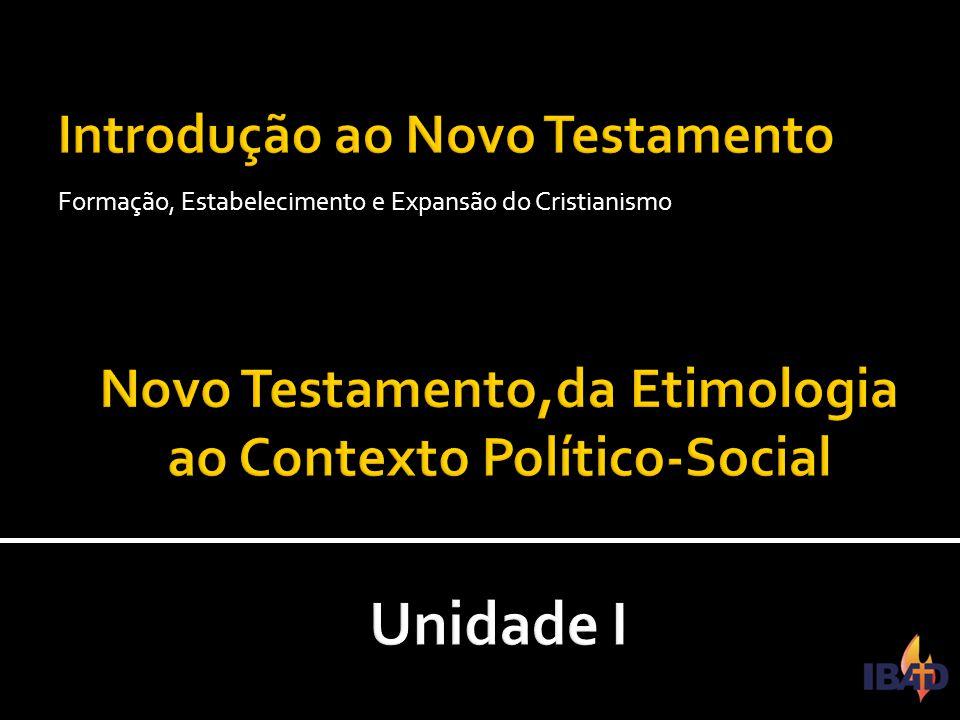 IBAD – PINDAMONHANGABA/SP  Esta unidade tem por objetivo apresentar o Novo Testamento de sua etimologia ao contexto Político-Social no qual ele se desenvolve.