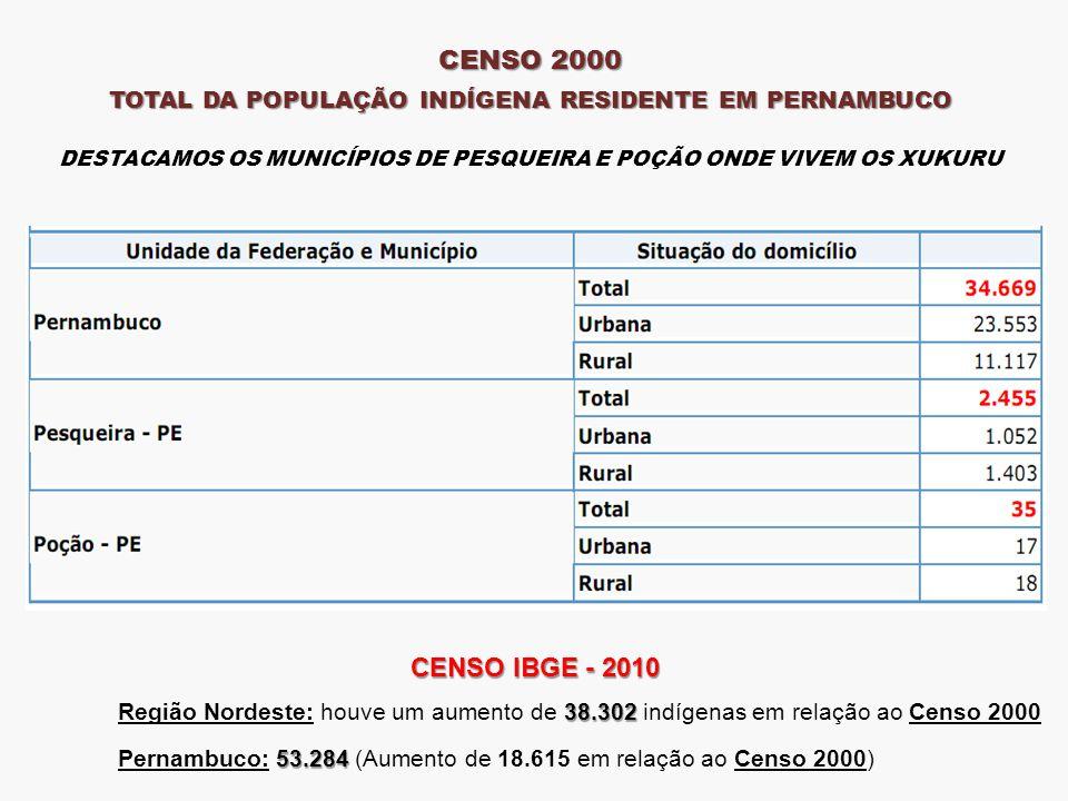 CENSO 2000 TOTAL DA POPULAÇÃO INDÍGENA RESIDENTE EM PERNAMBUCO DESTACAMOS OS MUNICÍPIOS DE PESQUEIRA E POÇÃO ONDE VIVEM OS XUKURU CENSO IBGE - 2010 38.302 Região Nordeste: houve um aumento de 38.302 indígenas em relação ao Censo 2000 53.284 Pernambuco: 53.284 (Aumento de 18.615 em relação ao Censo 2000)