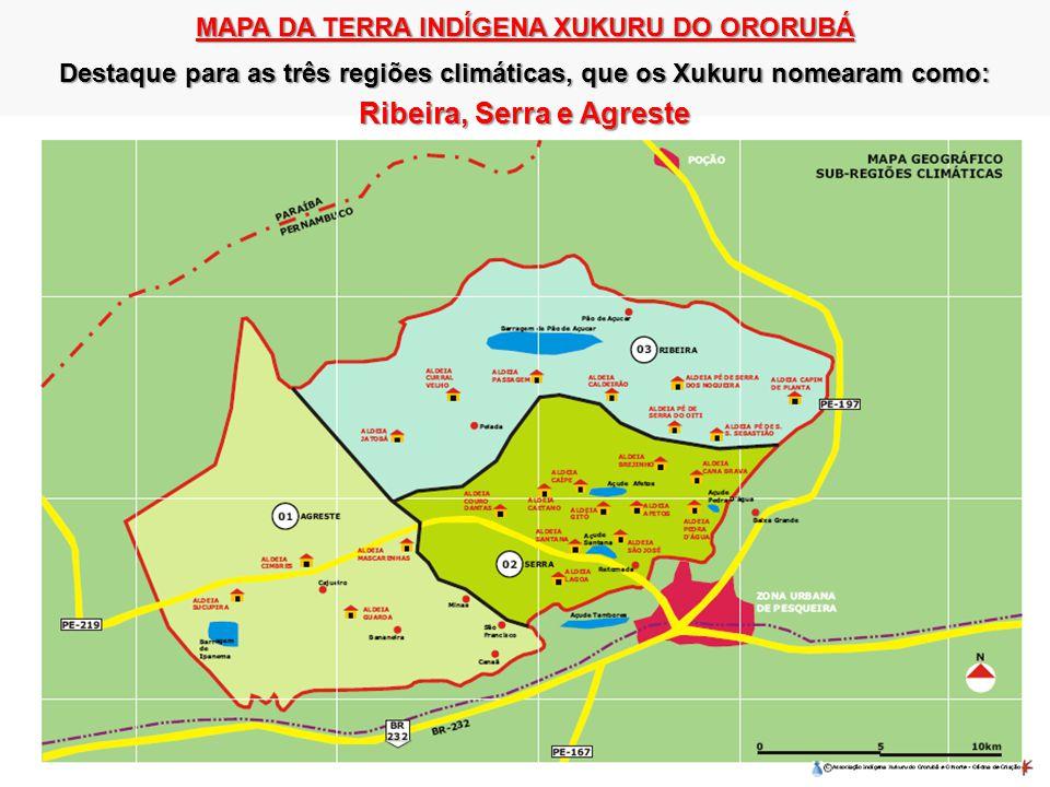 MAPA DA TERRA INDÍGENA XUKURU DO ORORUBÁ Destaque para as três regiões climáticas, que os Xukuru nomearam como: Ribeira, Serra e Agreste