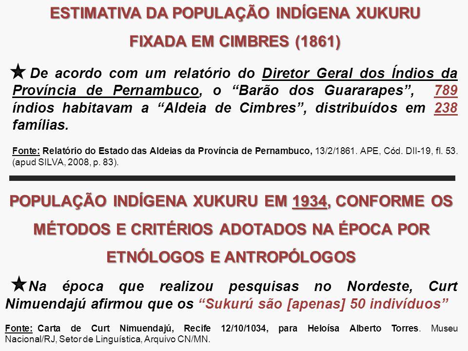 ESTIMATIVA DA POPULAÇÃO INDÍGENA XUKURU FIXADA EM CIMBRES (1861) De acordo com um relatório do Diretor Geral dos Índios da Província de Pernambuco, o