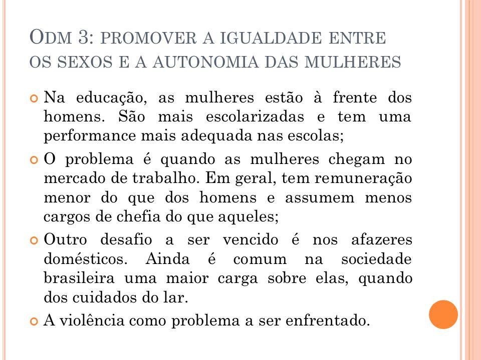 O DM 3: PROMOVER A IGUALDADE ENTRE OS SEXOS E A AUTONOMIA DAS MULHERES Na educação, as mulheres estão à frente dos homens.