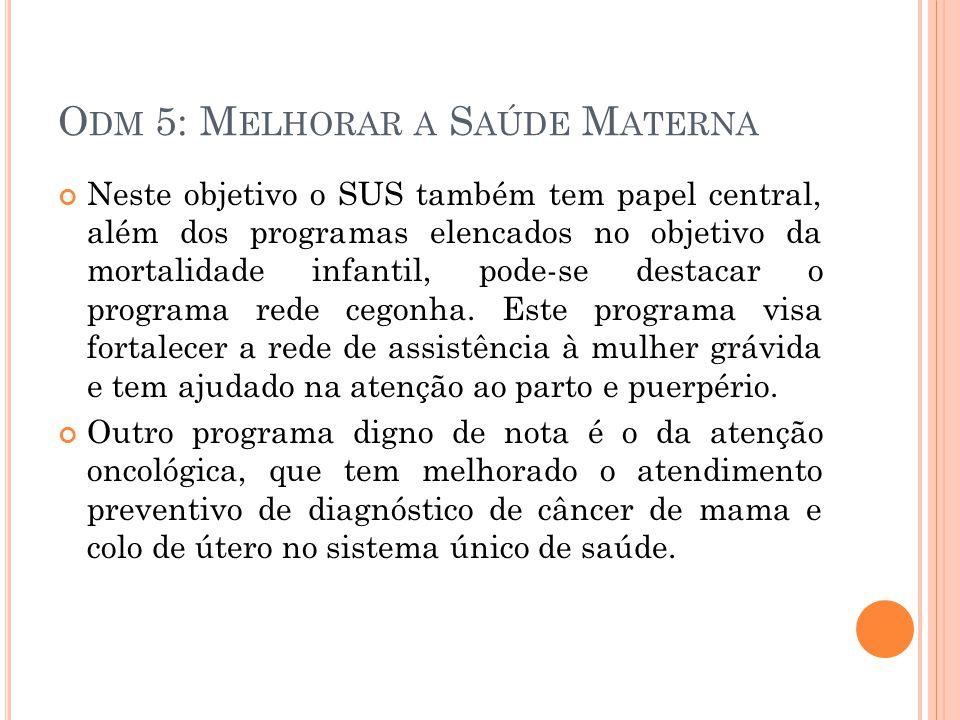 O DM 5: M ELHORAR A S AÚDE M ATERNA Neste objetivo o SUS também tem papel central, além dos programas elencados no objetivo da mortalidade infantil, pode-se destacar o programa rede cegonha.