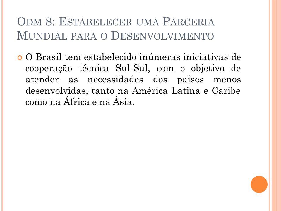 O DM 8: E STABELECER UMA P ARCERIA M UNDIAL PARA O D ESENVOLVIMENTO O Brasil tem estabelecido inúmeras iniciativas de cooperação técnica Sul-Sul, com o objetivo de atender as necessidades dos países menos desenvolvidas, tanto na América Latina e Caribe como na África e na Ásia.