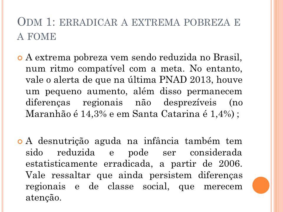O DM 1: ERRADICAR A EXTREMA POBREZA E A FOME A extrema pobreza vem sendo reduzida no Brasil, num ritmo compatível com a meta.