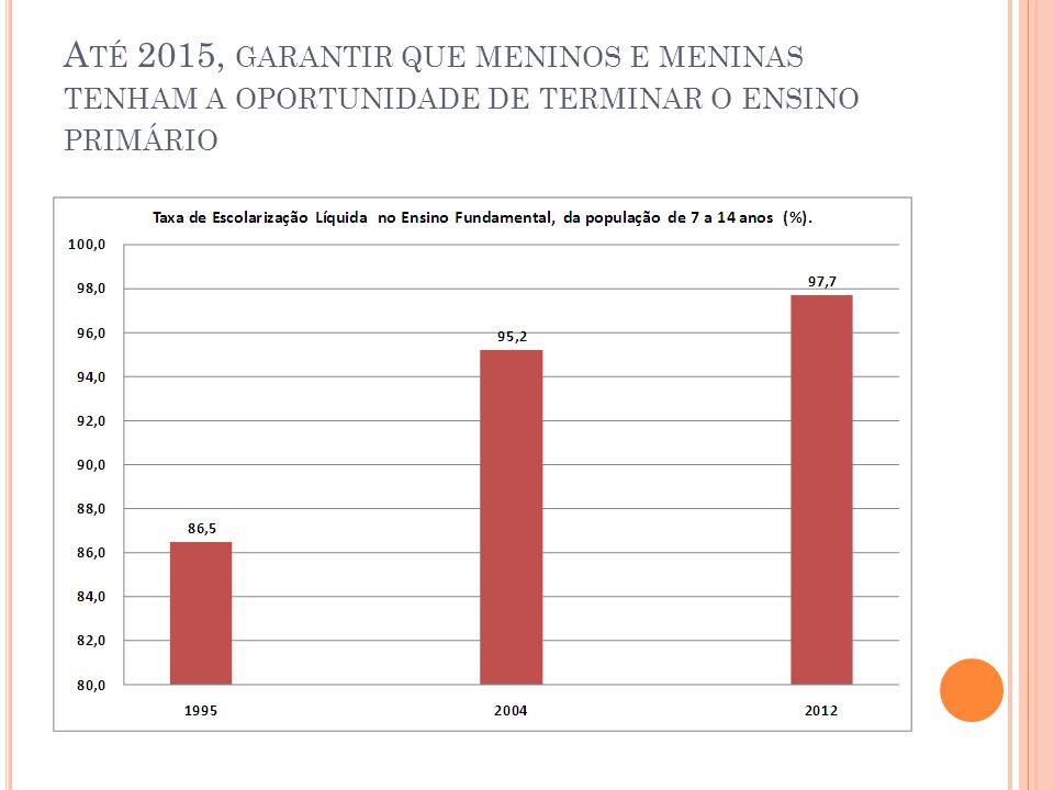 A TÉ 2015, GARANTIR QUE MENINOS E MENINAS TENHAM A OPORTUNIDADE DE TERMINAR O ENSINO PRIMÁRIO