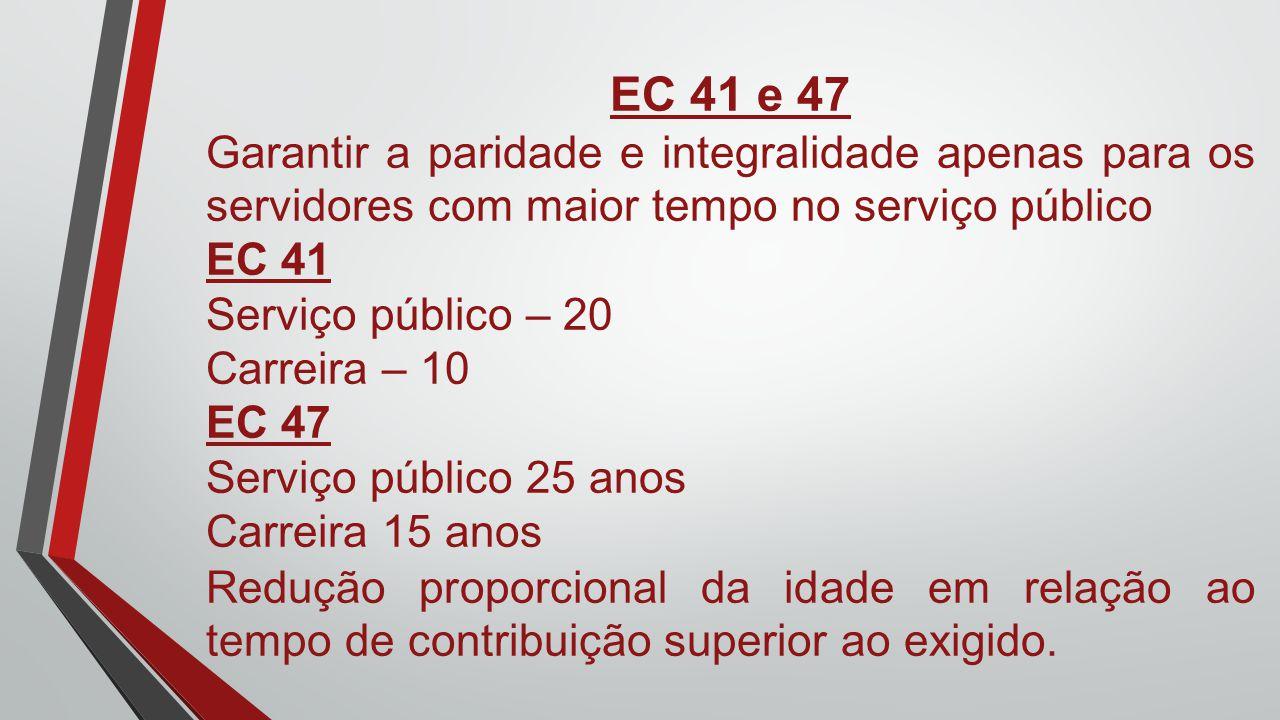 EC 41 e 47 Garantir a paridade e integralidade apenas para os servidores com maior tempo no serviço público EC 41 Serviço público – 20 Carreira – 10 E