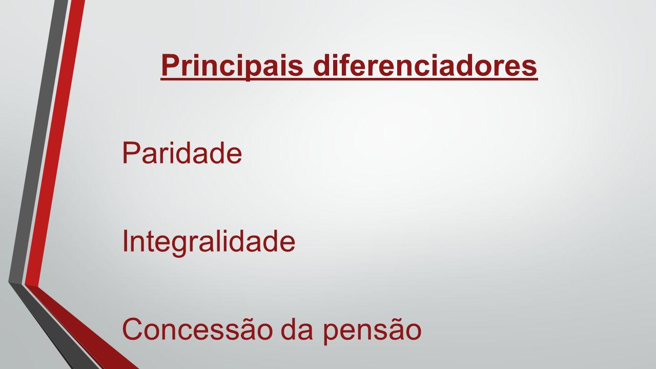 Principais diferenciadores Paridade Integralidade Concessão da pensão