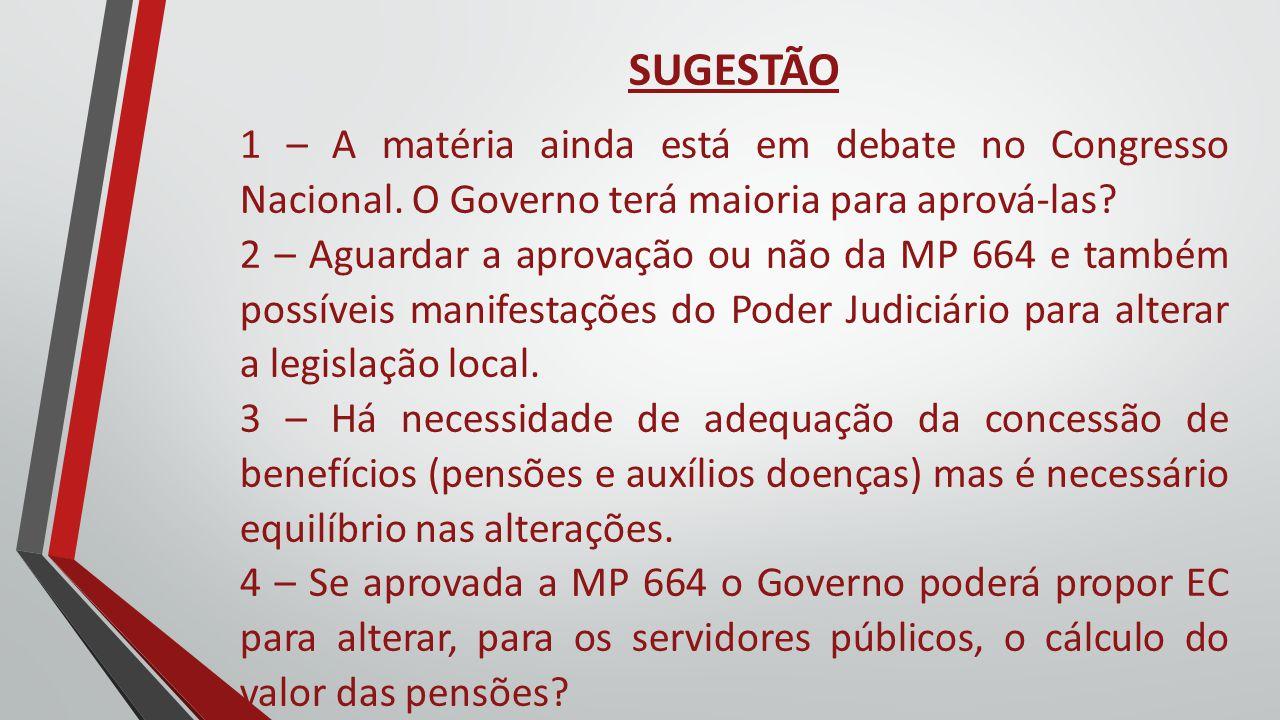 SUGESTÃO 1 – A matéria ainda está em debate no Congresso Nacional. O Governo terá maioria para aprová-las? 2 – Aguardar a aprovação ou não da MP 664 e