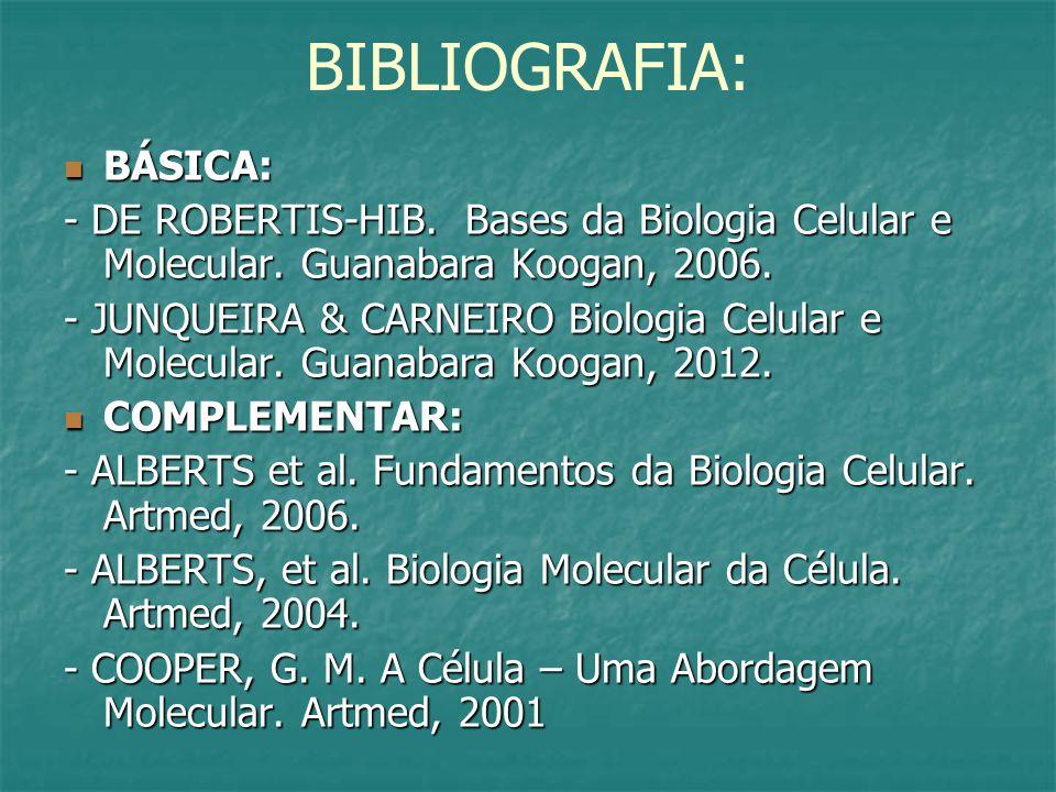 BIBLIOGRAFIA: BÁSICA: BÁSICA: - DE ROBERTIS-HIB.Bases da Biologia Celular e Molecular.