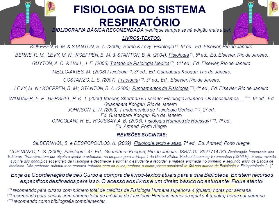 FISIOLOGIA DO SISTEMA RESPIRATÓRIO Profa. Adjunto do Depto. Ciências Fisiológicas-CCB-UFSC Como citar este documento: PINTO, Cristina Maria Henrique.