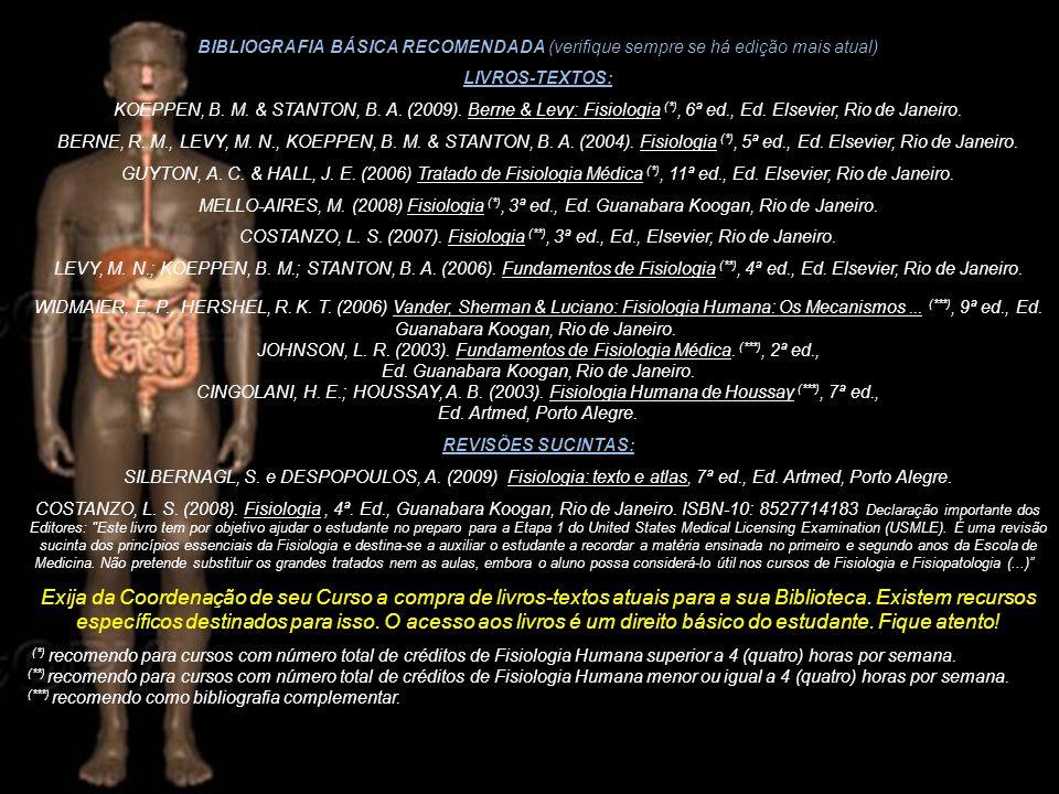 BIBLIOGRAFIA BÁSICA RECOMENDADA (verifique sempre se há edição mais atual) LIVROS-TEXTOS: KOEPPEN, B. M. & STANTON, B. A. (2009). Berne & Levy: Fisiol
