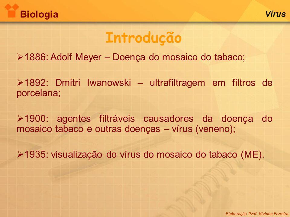 Elaboração Prof. Viviane Ferreira Biologia Vírus Introdução  1886: Adolf Meyer – Doença do mosaico do tabaco;  1892: Dmitri Iwanowski – ultrafiltrag