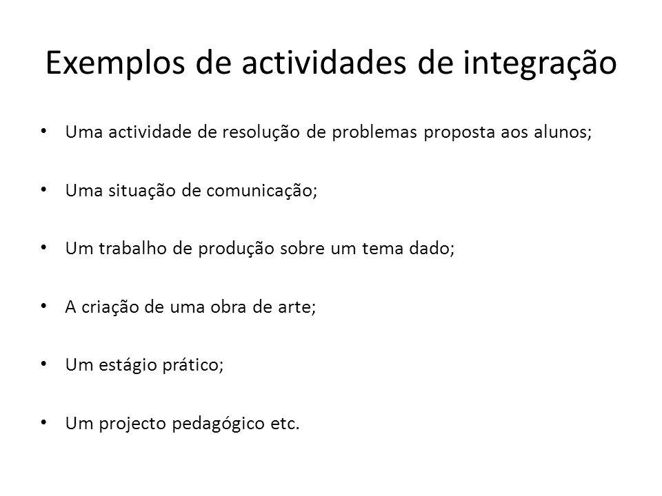Exemplos de actividades de integração Uma actividade de resolução de problemas proposta aos alunos; Uma situação de comunicação; Um trabalho de produç