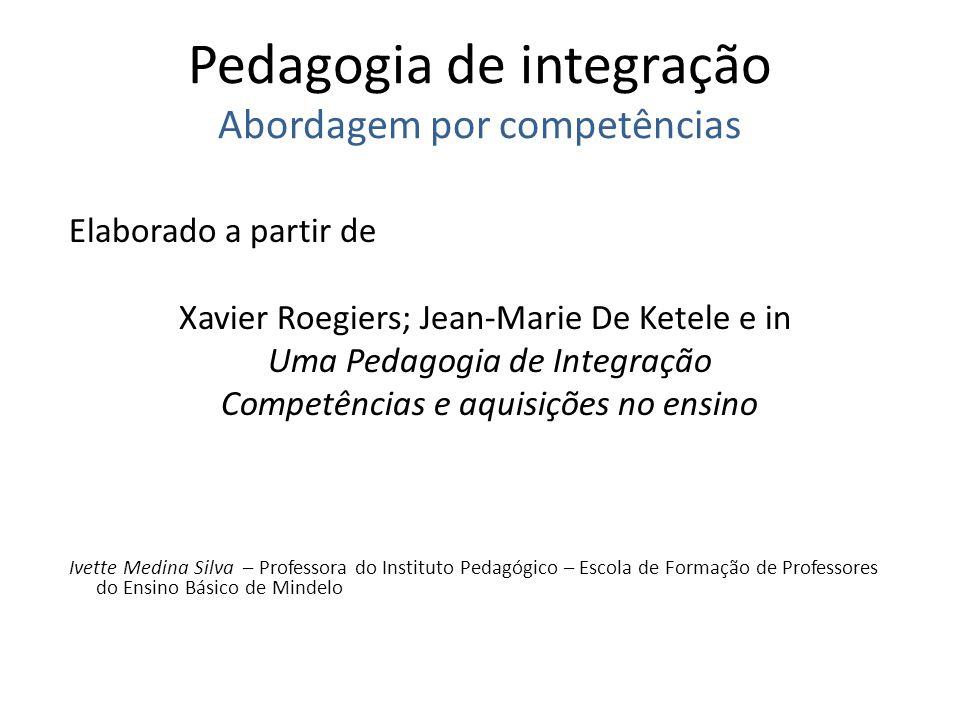 Pedagogia de integração Abordagem por competências Elaborado a partir de Xavier Roegiers; Jean-Marie De Ketele e in Uma Pedagogia de Integração Compet