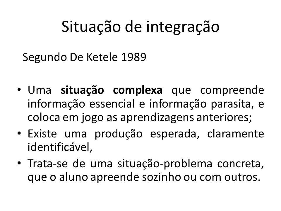 Situação de integração Segundo De Ketele 1989 Uma situação complexa que compreende informação essencial e informação parasita, e coloca em jogo as apr
