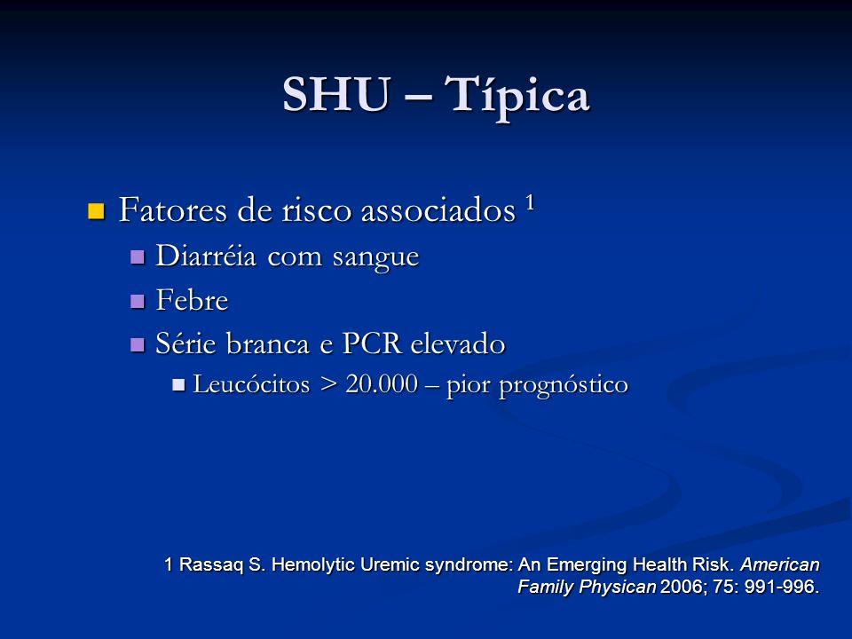 SHU – Típica Fatores de risco associados 1 Fatores de risco associados 1 Diarréia com sangue Diarréia com sangue Febre Febre Série branca e PCR elevad