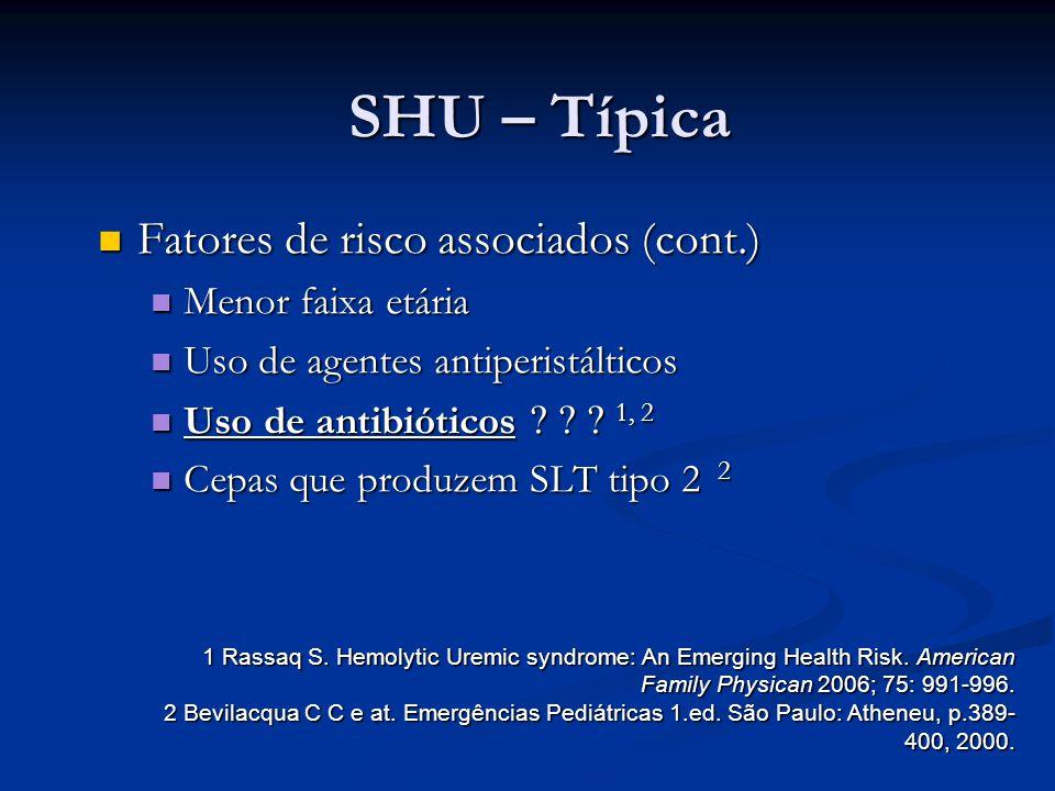 SHU – Típica Fatores de risco associados (cont.) Fatores de risco associados (cont.) Menor faixa etária Menor faixa etária Uso de agentes antiperistál