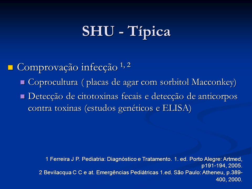 SHU - Típica Comprovação infecção 1, 2 Comprovação infecção 1, 2 Coprocultura ( placas de agar com sorbitol Macconkey) Coprocultura ( placas de agar c