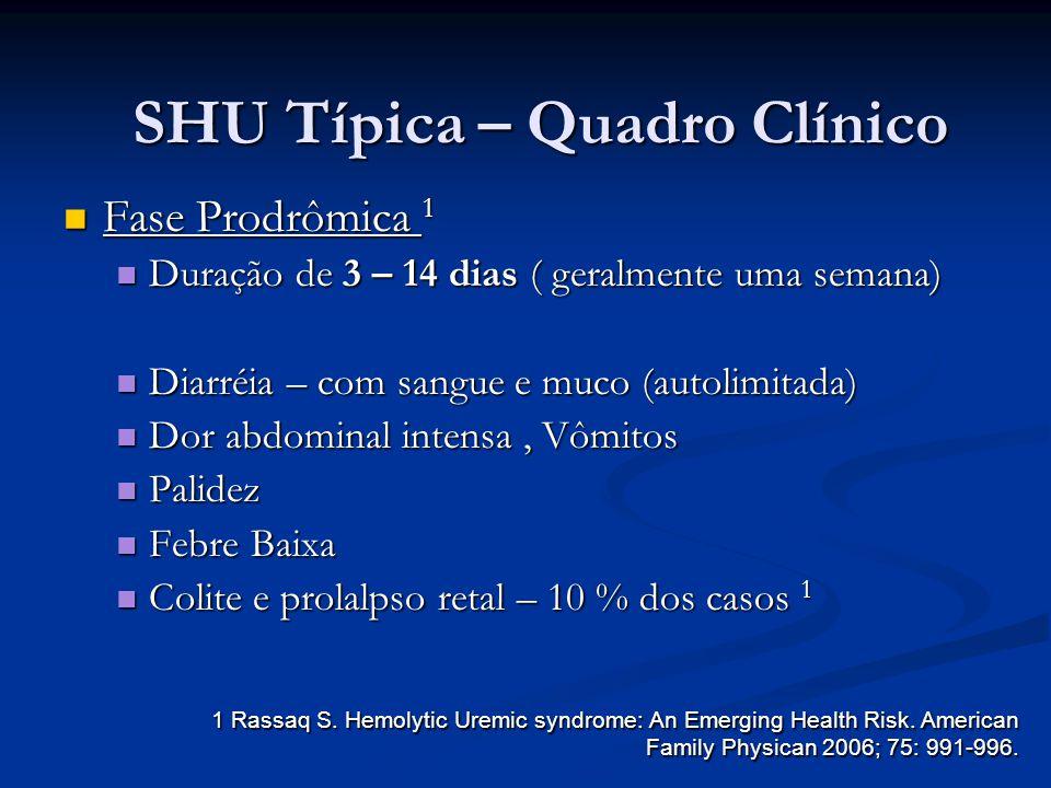 SHU Típica – Quadro Clínico Fase Prodrômica 1 Fase Prodrômica 1 Duração de 3 – 14 dias ( geralmente uma semana) Duração de 3 – 14 dias ( geralmente um