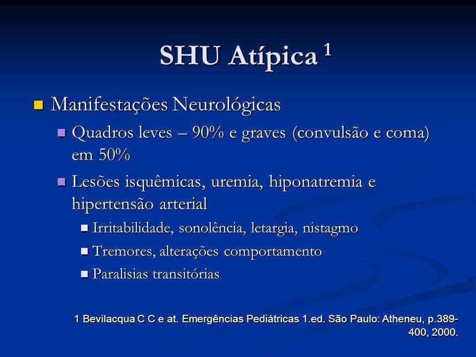 SHU Atípica 1 Manifestações Neurológicas Manifestações Neurológicas Quadros leves – 90% e graves (convulsão e coma) em 50% Quadros leves – 90% e grave