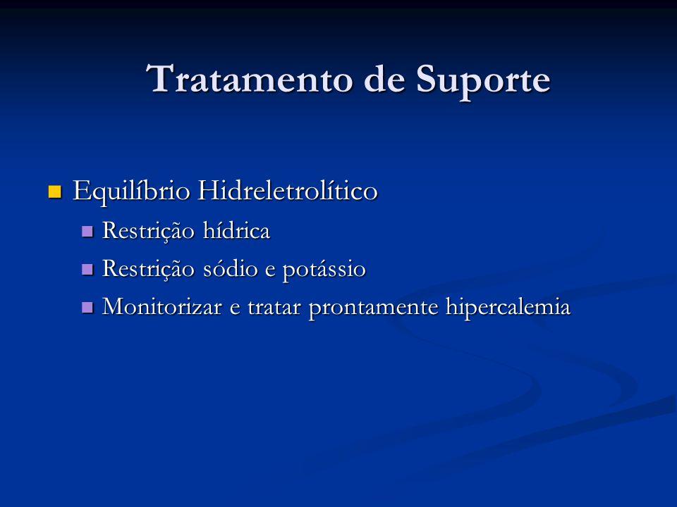 Tratamento de Suporte Equilíbrio Hidreletrolítico Equilíbrio Hidreletrolítico Restrição hídrica Restrição hídrica Restrição sódio e potássio Restrição