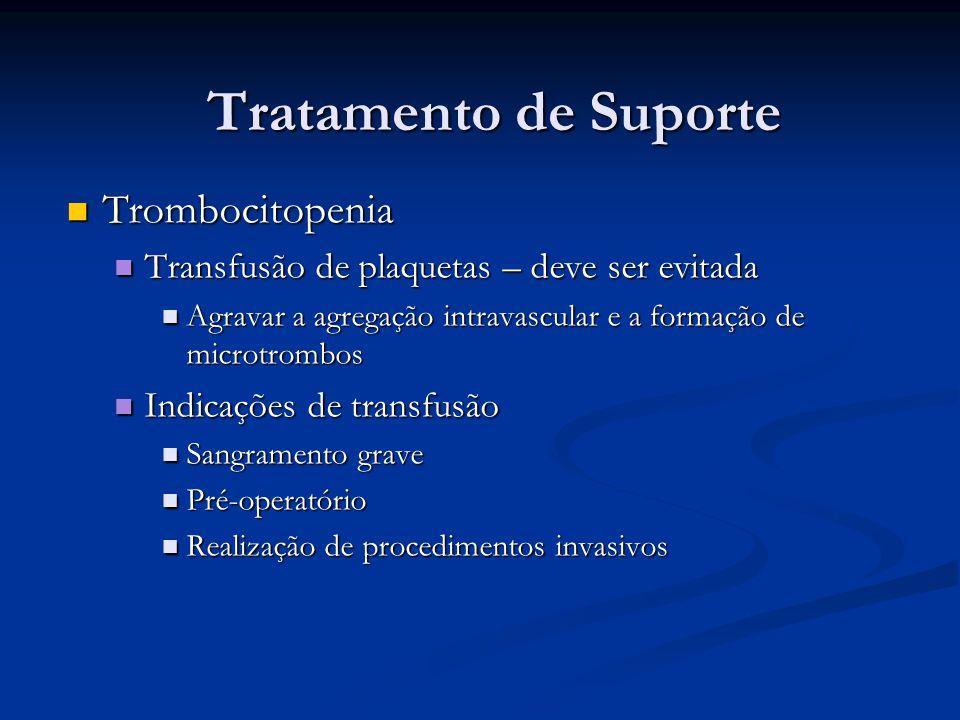 Tratamento de Suporte Trombocitopenia Trombocitopenia Transfusão de plaquetas – deve ser evitada Transfusão de plaquetas – deve ser evitada Agravar a