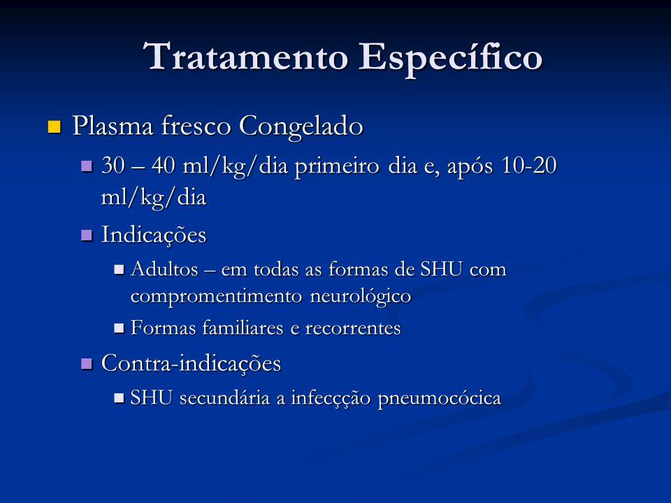 Tratamento Específico Plasma fresco Congelado Plasma fresco Congelado 30 – 40 ml/kg/dia primeiro dia e, após 10-20 ml/kg/dia 30 – 40 ml/kg/dia primeir