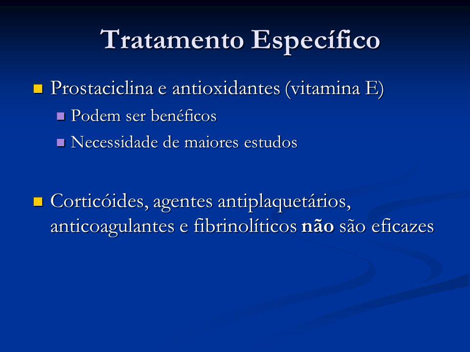 Tratamento Específico Prostaciclina e antioxidantes (vitamina E) Prostaciclina e antioxidantes (vitamina E) Podem ser benéficos Podem ser benéficos Ne