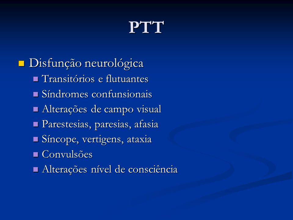PTT Disfunção neurológica Disfunção neurológica Transitórios e flutuantes Transitórios e flutuantes Síndromes confunsionais Síndromes confunsionais Al