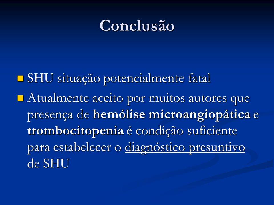 Conclusão SHU situação potencialmente fatal SHU situação potencialmente fatal Atualmente aceito por muitos autores que presença de hemólise microangio