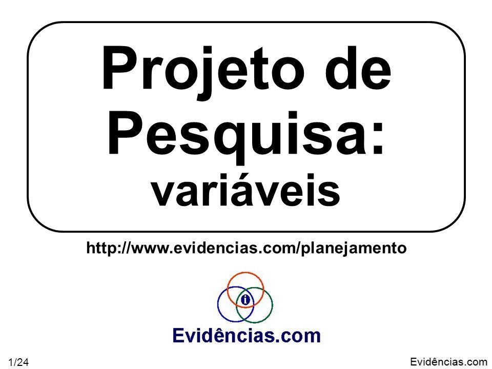 Evidências.com 1/24 Projeto de Pesquisa: variáveis http://www.evidencias.com/planejamento