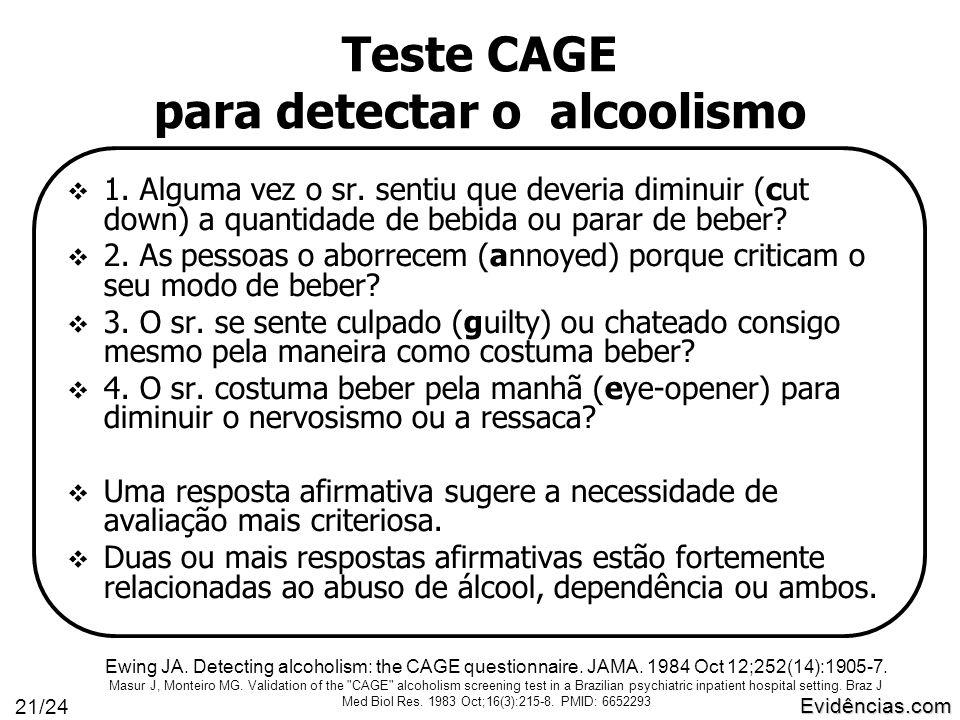 Evidências.com 21/24 Teste CAGE para detectar o alcoolismo  1.