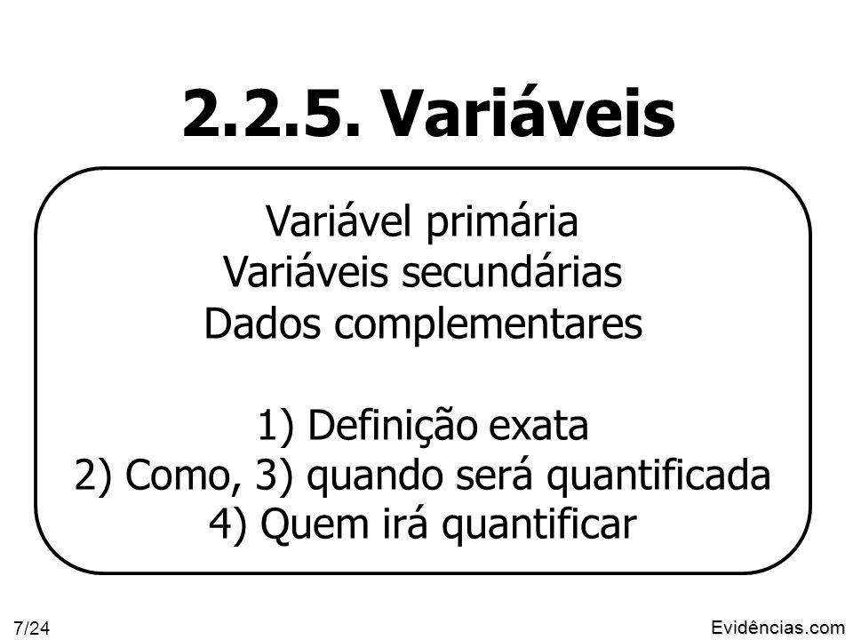 Evidências.com 8/24 O que determina as variáveis a serem estudadas? A pergunta da pesquisa