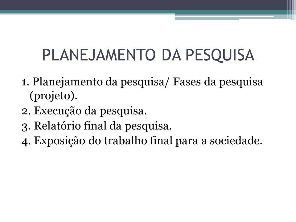 1. Planejamento da pesquisa/ Fases da pesquisa (projeto).