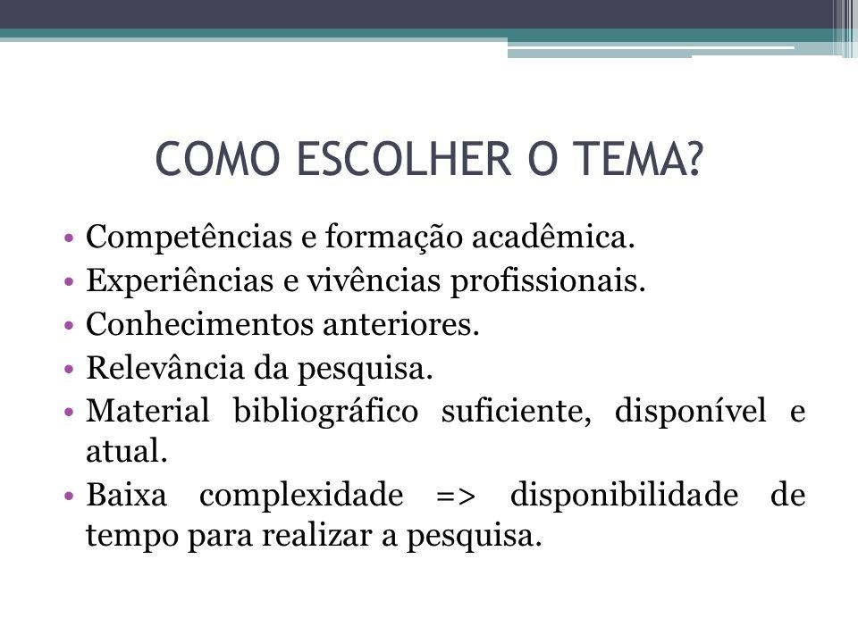 COMO ESCOLHER O TEMA. Competências e formação acadêmica.