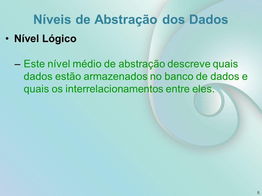 Nível de visão –O mais alto nível de abstração e descreve apenas parte do banco de dados.