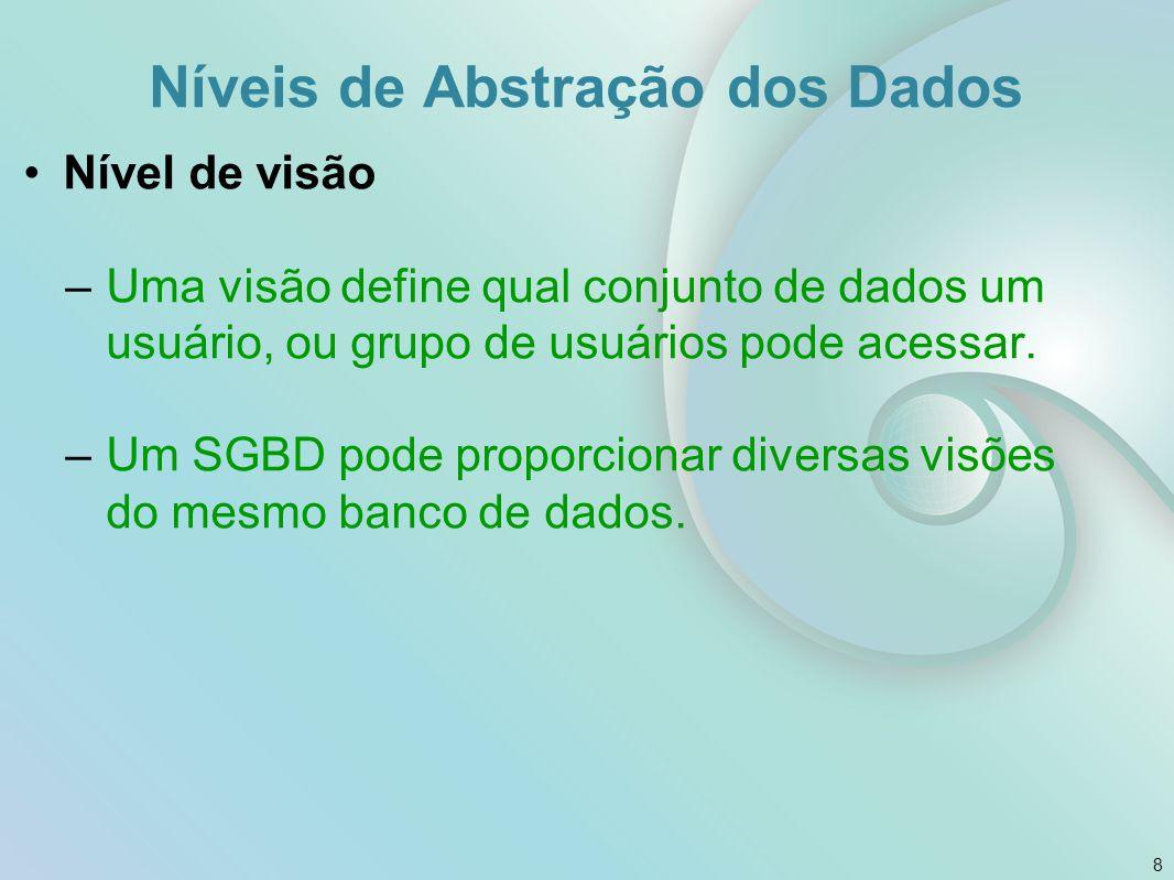 Nível de visão –Uma visão define qual conjunto de dados um usuário, ou grupo de usuários pode acessar. –Um SGBD pode proporcionar diversas visões do m