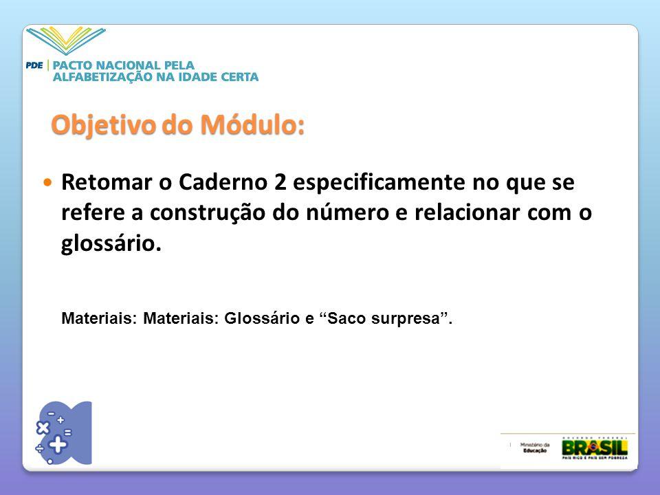 Objetivo do Módulo: Retomar o Caderno 2 especificamente no que se refere a construção do número e relacionar com o glossário. Materiais: Materiais: Gl