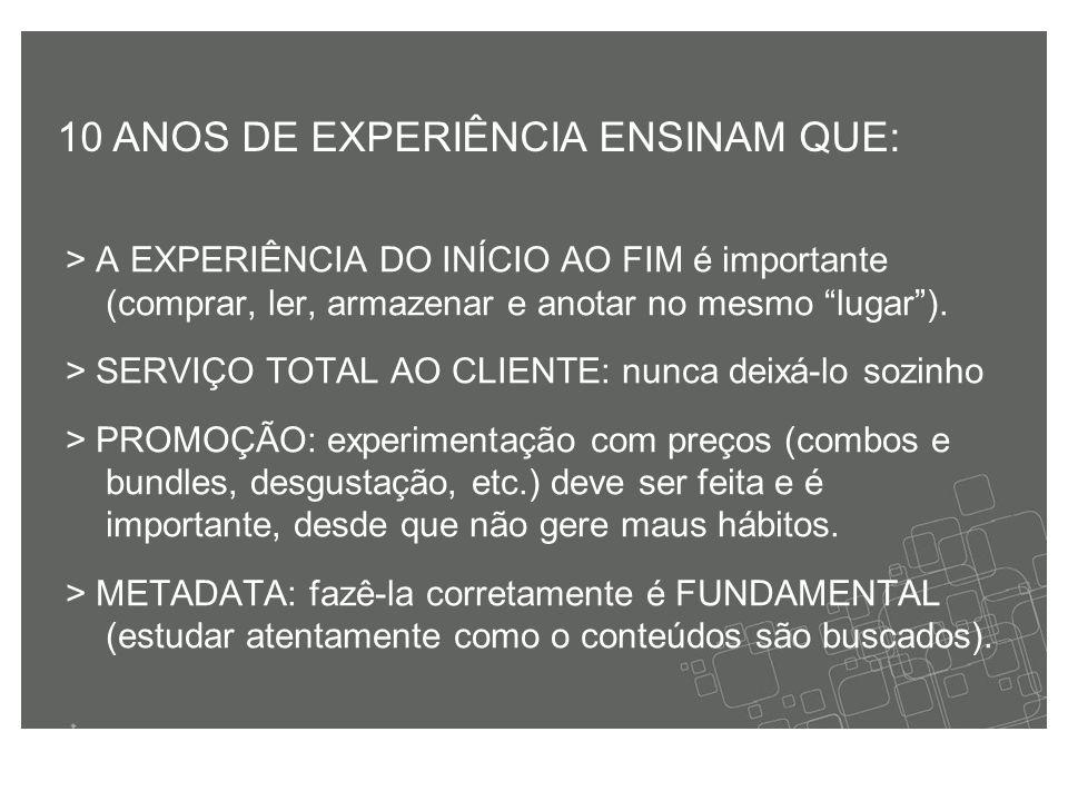 > A EXPERIÊNCIA DO INÍCIO AO FIM é importante (comprar, ler, armazenar e anotar no mesmo lugar ).