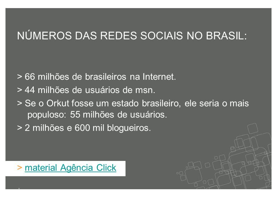 > 66 milhões de brasileiros na Internet. > 44 milhões de usuários de msn.