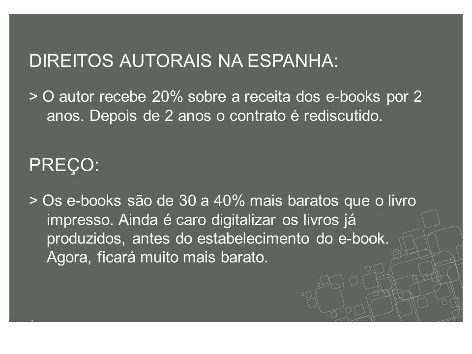 > O autor recebe 20% sobre a receita dos e-books por 2 anos.