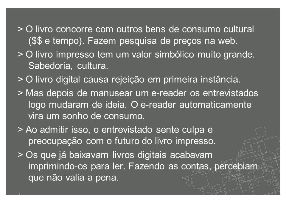 > O livro concorre com outros bens de consumo cultural ($$ e tempo).