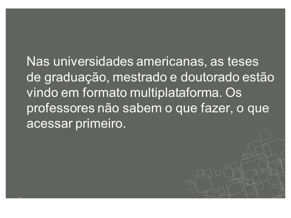 Nas universidades americanas, as teses de graduação, mestrado e doutorado estão vindo em formato multiplataforma.